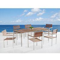 Teak-Stal szlachetne meble ogrodowe Stół 200cm 6 x krzeseł VIAREGGIO (7081459954208)