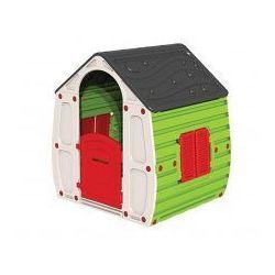 Domek ogrodowy z daszkiem, drzwiami i oknami