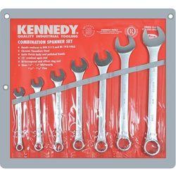 """Zestaw kluczy 1/8-1/2"""" Whitworth płasko-oczkowych calowych 7szt. satynowane polerowana główka Kennedy K"""