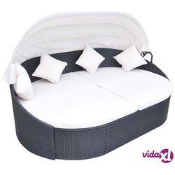 leżak z zadaszeniem i poduszką, polirattan, czarny marki Vidaxl