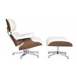 King home Fotel lounge va premium szeroki biały z podnóżkiem - sklejka orzech, skóra naturalna (5900168803046)