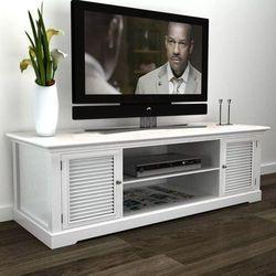 vidaXL Stolik pod TV, drewniany, biały (8718475890522)