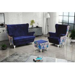 """Zestaw """"RIKI"""" sofa + fotel+podnóżek - brązowy, kolor brązowy"""