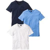 T-shirt z dekoltem w serek (3 szt.) Regular Fit bonprix niebieski + biały + ciemnoniebieski
