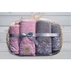 Komplet ręczników bella taca 2x50,2x70 popi/róż- marki Greno