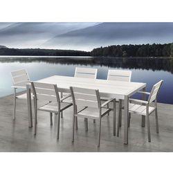 Aluminiowe meble ogrodowe białe dla 6 osób, Polywood, VERNIO
