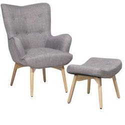 Fotel tapicerowany z podnóżkiem jasnoszary VEJLE