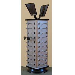 Obrotowy, czworościenny stojak na okulary 40par - w kolorze srebrnym, 00958