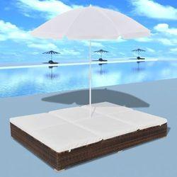 Vidaxl Leżak ogrodowy z parasolem, polirattan, brązowy