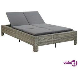 Vidaxl 2-osobowy leżak z poduszką, szary, polirattanowy
