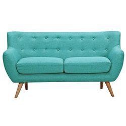 Sofa 2-osobowa z tkaniny SERTI - Kolor turkusowy z dopasowanymi dekoracyjnymi guzikami, kolor niebieski