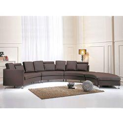 Beliani Półokrągła skórzana sofa kanapa brązowa 8 miejsc siedzących rotunde, kategoria: sofy