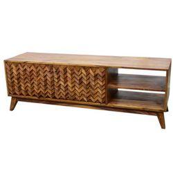 Szafka RTV EBENISTA – 2-drzwiowa z 2 wnękami – drewno sheesham – motywy rzeźbione – kolor naturalny