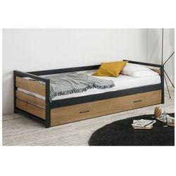 Łóżko wysuwane w industrialnym stylu boston - 2x90x190cm - mdf, sosna i metal kolor: orzech i antracyt marki Vente-unique.pl