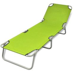 Vidaxl składany leżak z regulowanym oparciem, zielony (8718475910442)