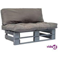 vidaXL Sofa ogrodowa z palet z szarymi poduszkami, drewno FSC