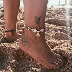 Bransoletka na nogę na kostkę wiązana muszelki - wiązana marki No logo
