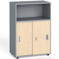 Szafa biurowa kombinowana, przesuwne drzwi, 1087x800x420 mm, brzoza marki B2b partner