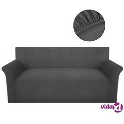 Vidaxl elastyczny pokrowiec na kanapę, prążkowany, szary