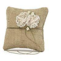 Poduszka pod obrączki brązowa z koronkowymi kwiatkami - 1 szt.
