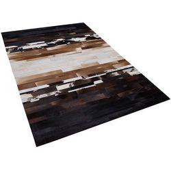 Beliani Dywan czarno-beżowy 140 x 200 cm skórzany dalyan (4260586354966)