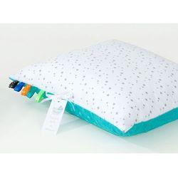 poduszka minky dwustronna 40x40 mini gwiazdki szare na bieli / turkus marki Mamo-tato