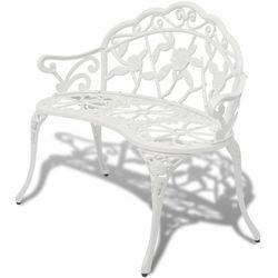 vidaXL Ławka ogrodowa biała ze stopu aluminium