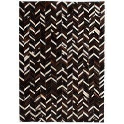 Vidaxl Dywan ze skóry, patchwork jodełkę, 120 x 170 cm, czarno-biały