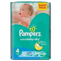 active baby - dry pieluchy rozmiar 4 maxi 76 szt., marki Pampers