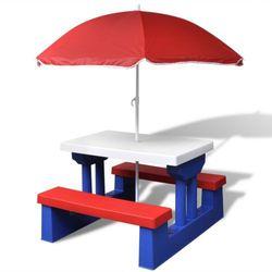 dziecięcy stół piknikowy z parasolem wyprodukowany przez Vidaxl