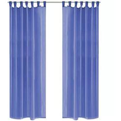 Vidaxl zasłony z woalu, 2 sztuki, 140 x 225 cm, niebieski (8718475516729)