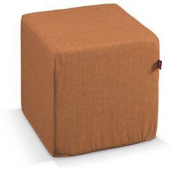 Dekoria  pufa kostka twarda, pomarańczowy z delikatnymi kwiatami, 40x40x40 cm, taffeta do -30%