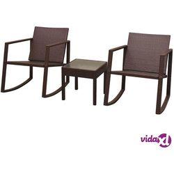 Vidaxl 2 krzesła bujane i stolik, polirattan, brązowe (8718475504511)