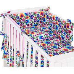 MAMO-TATO dwustronna rozbieralna pościel 3-el Łowicz / róż do łóżeczka 70x140cm