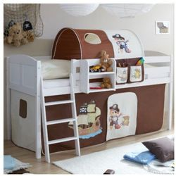 Ticaa łóżko z drabinką eric, białe drewno sosnowe country pirat kolor brązowo-beżowy, marki Ticaa kindermöbel