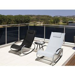Krzesło ogrodowe czarne tekstylne bujane CAMPO (7105275900697)
