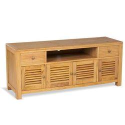 Szafka RTV SUMBA – 4-drzwiowa z 2 szufladami – lite drewno mindi