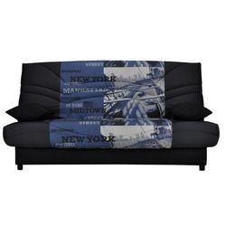 Vente-unique Rozkładana kanapa z tkaniny saloon ze skrzynią - kolor czarny z nadrukiem midtown