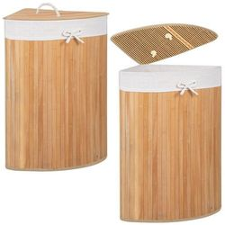 Kosz na pranie 73L narożny pojemnik z klapą bambus naturalny
