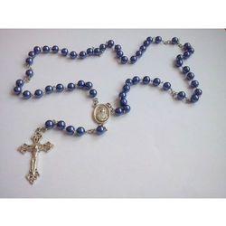 Różaniec perełkowy (kolor ciemnoniebieski)+ etui kwadratowe z wizerunkiem Pana Jezusa, kup u jednego z part