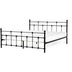 Łóżko czarne - 180 x 200 cm - metalowe - ze stelażem - LYNX, kolor czarny