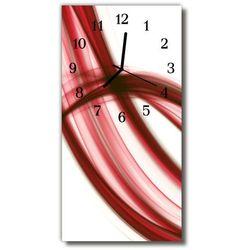 Zegar szklany pionowy sztuka abstrakcja linie czerwony marki Tulup.pl