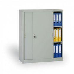 B2b partner Metalowa szafa z przesuwnymi drzwiami, 1200 x 1200 x 450 mm, jasnoszary
