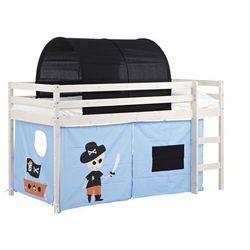 Vente-unique Łóżko na podwyższeniu pirate z niebieskim zasłonkami i czarnym namiotem - 90 × 190 cm - lite drewno sosnowe - bielone