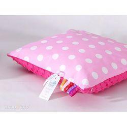 poduszka minky dwustronna 40x40 grochy różowe / fuksja marki Mamo-tato