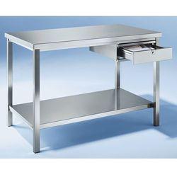 Stół warsztatowy ze stali szlachetnej, 1 szuflada, 1 pełna półka, szer. 2400 mm. marki Unbekannt