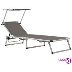 składany leżak z daszkiem, aluminium i textilene, szary marki Vidaxl