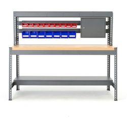 Stół warsztatowy COMBO, z listwą na pojemniki i oświetleniem, dąb, 281542