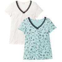 Bonprix Shirt z krótkim rękawem (2 szt.), bawełna organiczna  biel wełny + pastelowy miętowy z nadrukiem