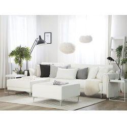 Beliani Sofa rozkładana skóra ekologiczna biała prawostronna z otomaną aberdeen (4260624117256)